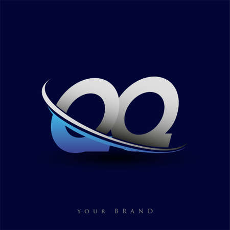 initial letter QQ logotype company name colored blue and grey swoosh design. vector logo for business and company identity.