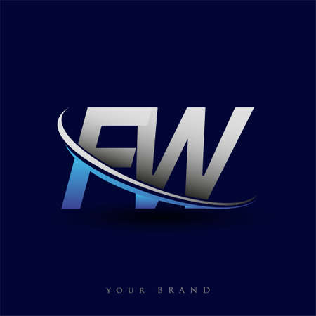 initial letter FW logotype company name colored blue and grey swoosh design. vector logo for business and company identity.