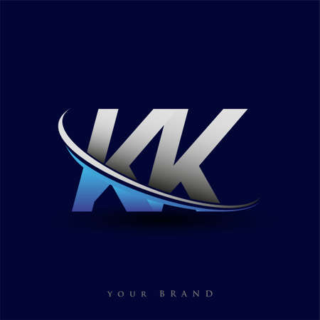 initial letter KK logotype company name colored blue and grey swoosh design. vector logo for business and company identity.