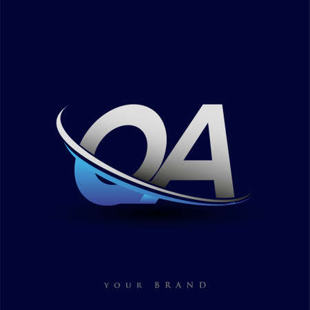 initial letter QA logotype company name colored blue and grey swoosh design. vector logo for business and company identity. Logo