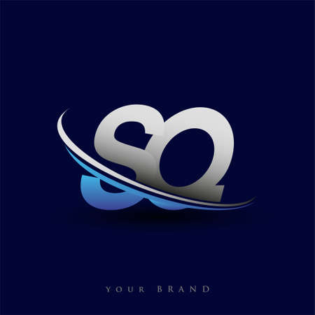 initial letter SQ logotype company name colored blue and grey swoosh design. vector logo for business and company identity. Logó