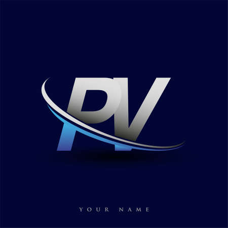 initial letter PV logotype company name colored blue and grey swoosh design. vector logo for business and company identity.