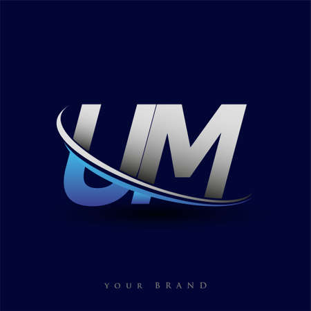initial letter UM logotype company name colored blue and grey swoosh design. vector logo for business and company identity.