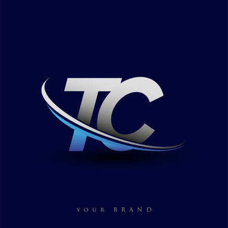initial letter TC logotype company name colored blue and grey swoosh design. vector logo for business and company identity. ЛОГОТИПЫ