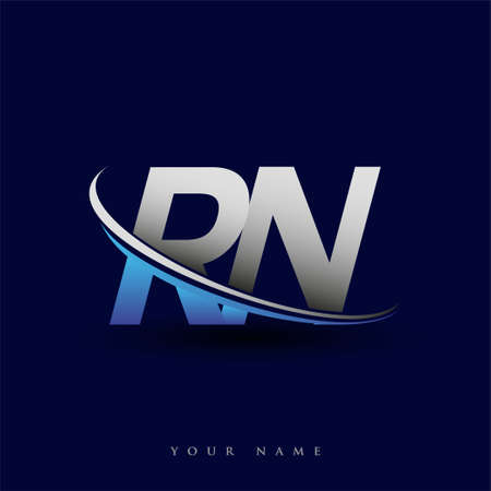 initial letter RN lotype company name colored blue and grey swoosh design. vector logo for business and company identity.
