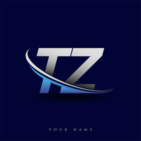 initial letter TZ logotype company name colored blue and grey swoosh design. vector logo for business and company identity. Logó