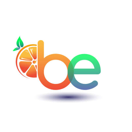 initial letter BE logotype orange and green color, initial logo for fresh fruit store or any company that related with fresh fruit or nature, vector illustration.