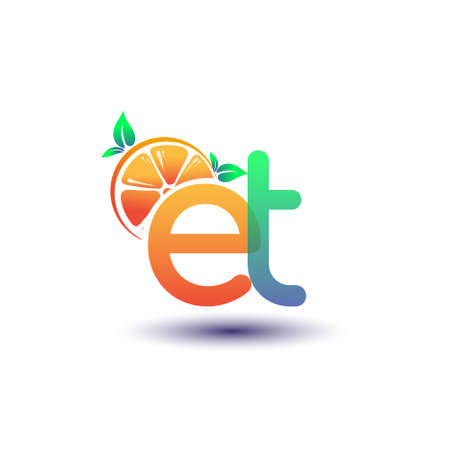 initial letter ET logotype orange and green color, initial logo for fresh fruit store or any company that related with fresh fruit or nature, vector illustration. Logo