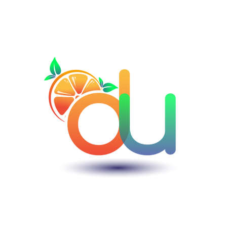 initial letter DU logotype orange and green color, initial logo for fresh fruit store or any company that related with fresh fruit or nature, vector illustration.
