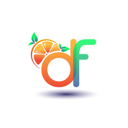initial letter DF logotype orange and green color, initial logo for fresh fruit store or any company that related with fresh fruit or nature, vector illustration. Logo