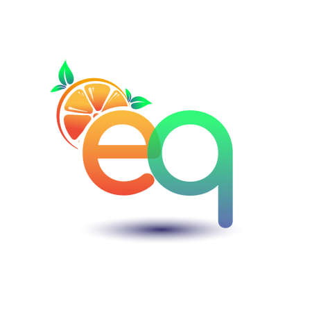 initial letter EQ logotype orange and green color, initial logo for fresh fruit store or any company that related with fresh fruit or nature, vector illustration.