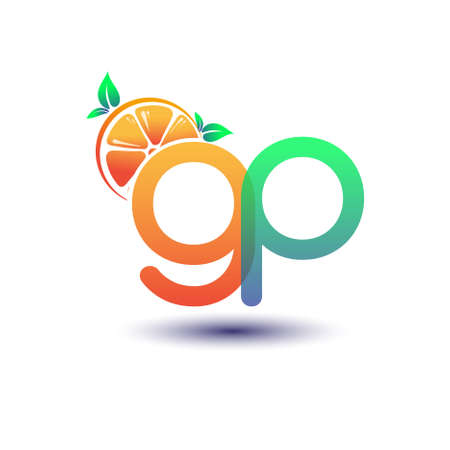 initial letter GP logotype orange and green color, initial logo for fresh fruit store or any company that related with fresh fruit or nature, vector illustration.