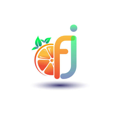 initial letter FJ logotype orange and green color, initial logo for fresh fruit store or any company that related with fresh fruit or nature, vector illustration. Logó