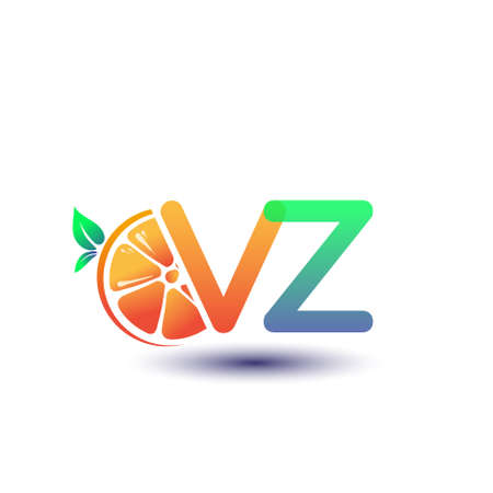 initial letter VZ logotype orange and green color, initial logo for fresh fruit store or any company that related with fresh fruit or nature, vector illustration.