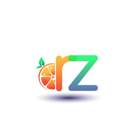 initial letter RZ logotype orange and green color, initial logo for fresh fruit store or any company that related with fresh fruit or nature, vector illustration.