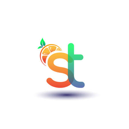 initial letter ST logotype orange and green color, initial logo for fresh fruit store or any company that related with fresh fruit or nature, vector illustration.
