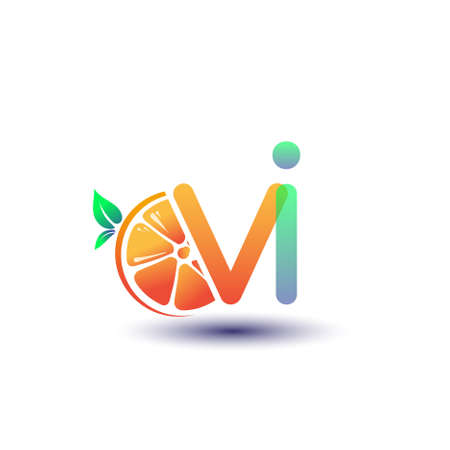 initial letter VI logotype orange and green color, initial logo for fresh fruit store or any company that related with fresh fruit or nature, vector illustration. Logó