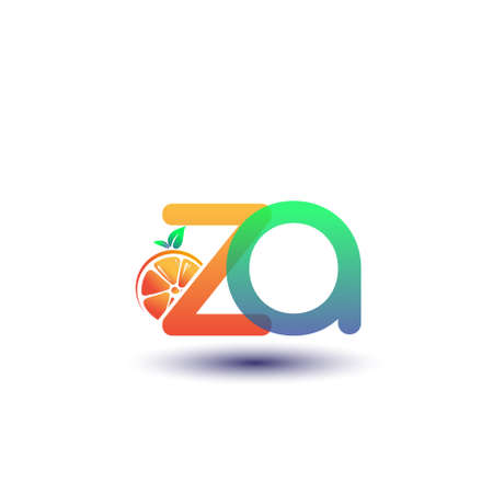 initial letter ZA logotype orange and green color, initial logo for fresh fruit store or any company that related with fresh fruit or nature, vector illustration. Logo