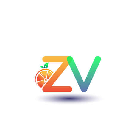 initial letter ZV logotype orange and green color, initial logo for fresh fruit store or any company that related with fresh fruit or nature, vector illustration. Logo