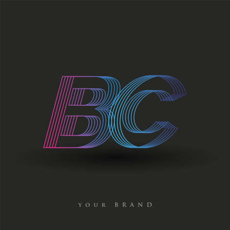 initial letter logo BC colored blue and magenta with striped composition, Vector logo design template elements for your business or company identity.