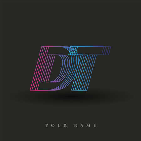 initial letter logo DT colored blue and magenta with striped composition, Vector logo design template elements for your business or company identity.