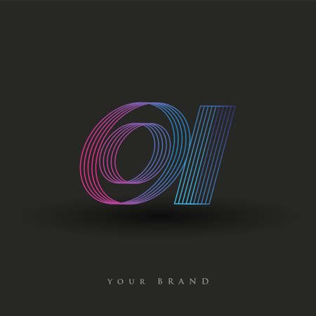 initial letter logo OI colored blue and magenta with striped composition, Vector logo design template elements for your business or company identity.