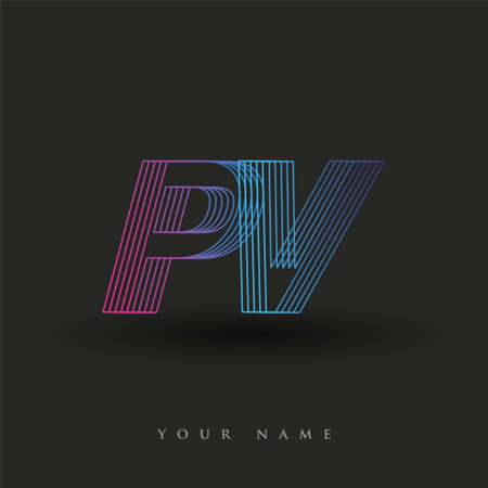 initial letter logo PV colored blue and magenta with striped composition, Vector logo design template elements for your business or company identity.