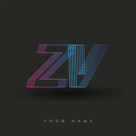 initial letter logo ZV colored blue and magenta with striped composition, Vector logo design template elements for your business or company identity.