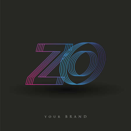 initial letter logo ZO colored blue and magenta with striped composition, Vector logo design template elements for your business or company identity. Logo