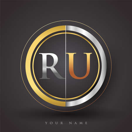 RU Letter logo in a circle, gold and silver colored. Vector design template elements for your business or company identity.