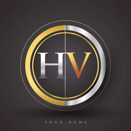 HV Letter logo in a circle, gold and silver colored. Vector design template elements for your business or company identity.
