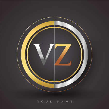 VZ Letter logo in a circle, gold and silver colored. Vector design template elements for your business or company identity.