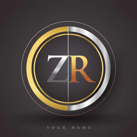 ZR Letter logo in a circle, gold and silver colored. Vector design template elements for your business or company identity.
