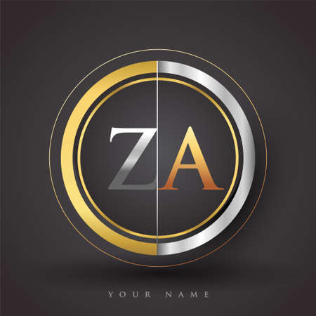 ZA Letter logo in a circle, gold and silver colored. Vector design template elements for your business or company identity. Logo