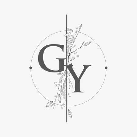 Letter GY Initial Logo with Hand Draw Floral, Initial Wedding Font Logo with Circle and Flowers.