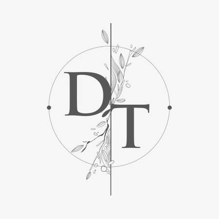 Letter DT Initial Logo with Hand Draw Floral, Initial Wedding Font Logo with Circle and Flowers.