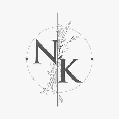 Letter NK Initial Logo with Hand Draw Floral, Initial Wedding Font Logo with Circle and Flowers.