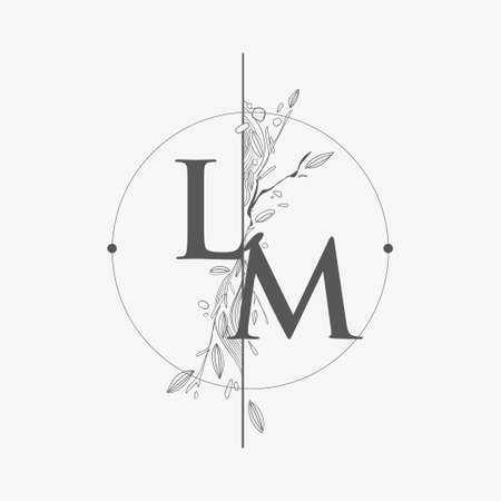 Letter LM Initial Logo with Hand Draw Floral, Initial Wedding Font Logo with Circle and Flowers. Logo