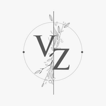 Letter VZ Initial Logo with Hand Draw Floral, Initial Wedding Font Logo with Circle and Flowers.