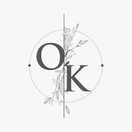 Letter OK Initial Logo with Hand Draw Floral, Initial Wedding Font Logo with Circle and Flowers.