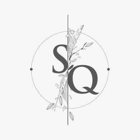 Letter SQ Initial Logo with Hand Draw Floral, Initial Wedding Font Logo with Circle and Flowers.