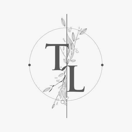 Letter TL Initial Logo with Hand Draw Floral, Initial Wedding Font Logo with Circle and Flowers. Logó