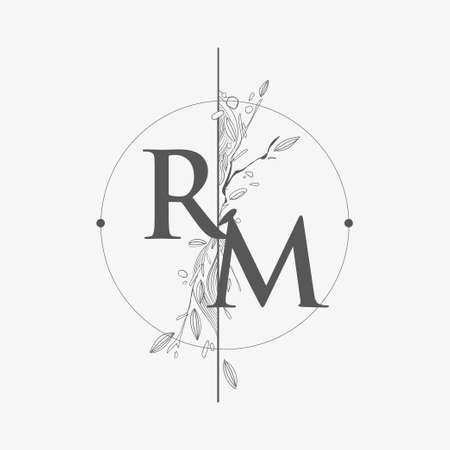 Letter RM Initial Logo with Hand Draw Floral, Initial Wedding Font Logo with Circle and Flowers.
