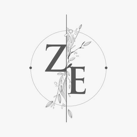 Letter ZE Initial Logo with Hand Draw Floral, Initial Wedding Font Logo with Circle and Flowers. Logo