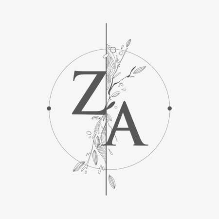 Letter ZA Initial Logo with Hand Draw Floral, Initial Wedding Font Logo with Circle and Flowers.