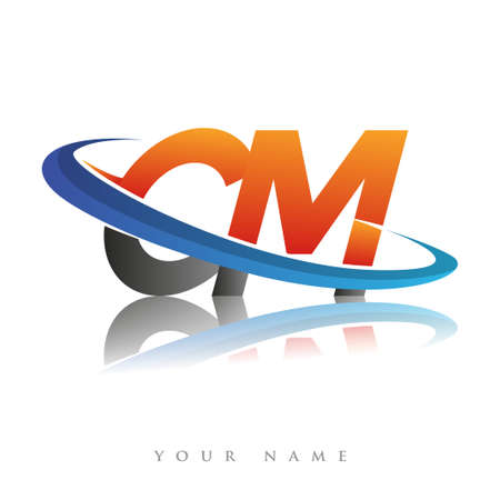 initial logo CM company name colored orange and blue swoosh design, isolated in white background. vector logo for business and company identity.