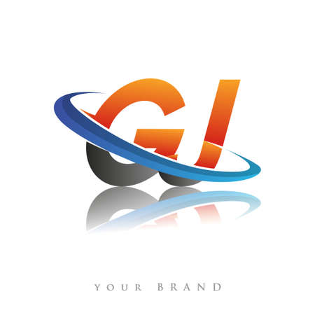 initial logo GJ company name colored orange and blue swoosh design, isolated in white background. vector logo for business and company identity.