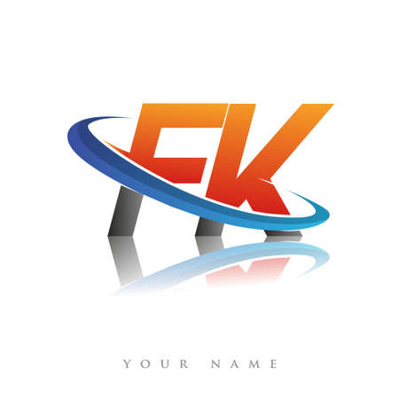 initial logo FK company name colored orange and blue swoosh design, isolated in white background. vector logo for business and company identity.