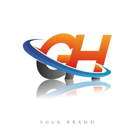 initial logo GH company name colored orange and blue swoosh design, isolated in white background. vector logo for business and company identity. Logó