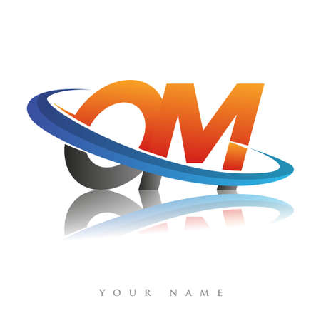 initial logo OM company name colored orange and blue swoosh design, isolated in white background. vector logo for business and company identity. Logo